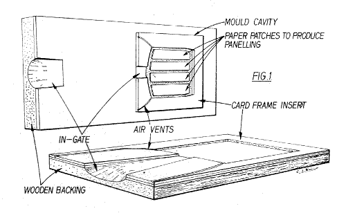 Detailed view of a cardboard and wood mould for casting
