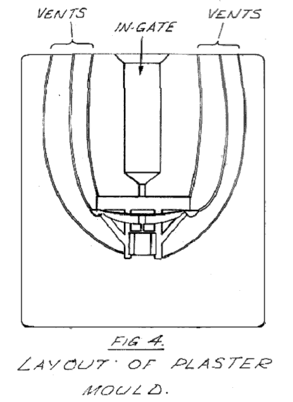 layout of plaster mould with ingate and vent details