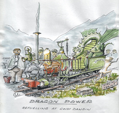 Droodle. Dragon powered narrow gauge locomotive by Colin Binnie