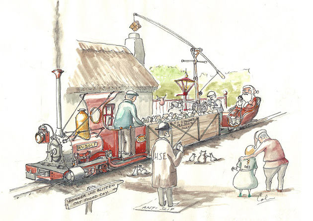 Droodle. Santa and Rudolf macking christmas deliveries by narrow gauge rail. Colin Binnie
