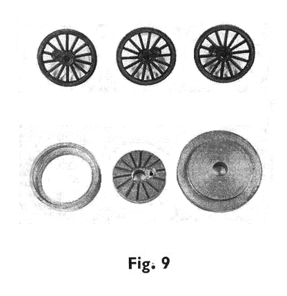 fig 9. wheels with cranks, top hat and ring assembly